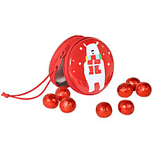 Buy Polar Bear Zipped Bag with Foiled Milk Chocolate Balls, 100g Online at johnlewis.com