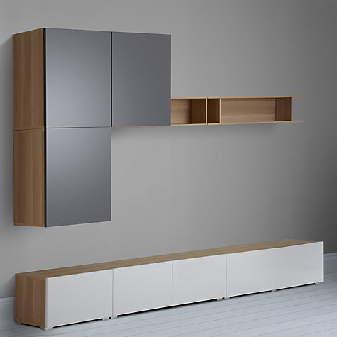 Buy House by John Lewis Match 300cm Floor and Floating Units with Shelf, Oak/White Online at johnlewis.com