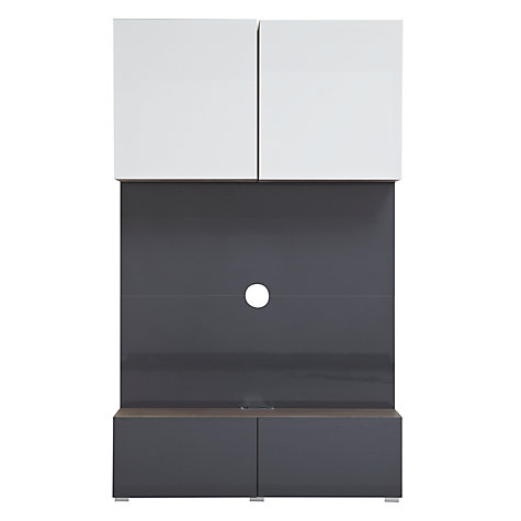 Buy House by John Lewis Match 120cm Media Unit with Steel Panel, Gloss Grey Online at johnlewis.com