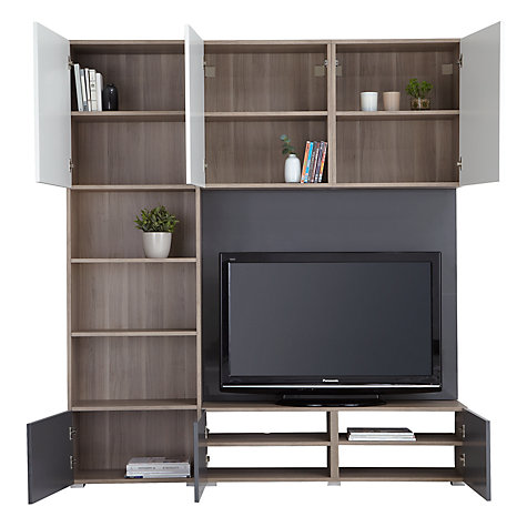 Buy House by John Lewis Match 180cm Media Unit with Steel Panel, Grey Ash Online at johnlewis.com
