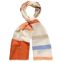 Buy Jaeger Long Woven Stripe Scarf, Orange Online at johnlewis.com