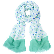 Buy Jaeger Tile Flower Scarf, Green Online at johnlewis.com