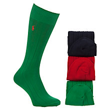 Buy Polo Ralph Lauren Crew Ribbed Socks, Pack of 3, One Size, Multi Online at johnlewis.com