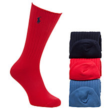Buy Polo Ralph Lauren Flat Knit Socks Gift Set, Pack of 3, One Size, Red/Navy/Blue Online at johnlewis.com