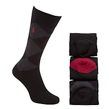Buy Polo Ralph Lauren Argyle Socks, Pack of 3, One Size, Black/Red/Grey Online at johnlewis.com