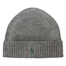 Buy Polo Ralph Lauren Merino Wool Ribbed Beanie Hat Online at johnlewis.com
