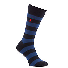 Buy Polo Ralph Lauren Rugby Striped Sock Gift Set, Pack Of 3, Blue Online at johnlewis.com