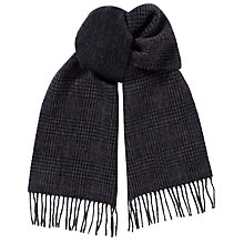 Buy Polo Ralph Lauren Lambswool Blend Glen Plaid Double Faced Scarf, Grey Online at johnlewis.com