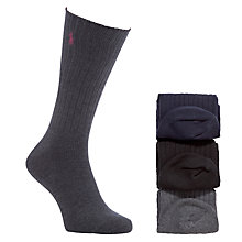 Buy Polo Ralph Lauren Ribbed Socks Gift Set, Pack of 3, One size, Multi Online at johnlewis.com