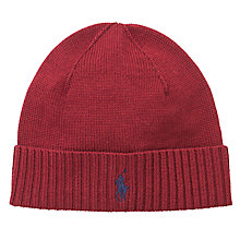 Buy Polo Ralph Lauren Merino Wool Ribbed Beanie Hat, One Size Online at johnlewis.com