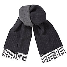 Buy Polo Ralph Lauren Lambswool Blend Pinstripe Scarf, Charcoal Online at johnlewis.com
