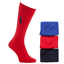 Buy Polo Ralph Lauren Flat Knit Socks Gift Set, One Size, Pack of 3, Red/Blue/Navy Online at johnlewis.com