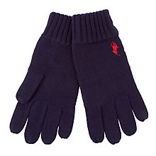 Buy Polo Ralph Lauren Merino Knit Gloves, One Size, Navy Online at johnlewis.com