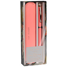 Buy Ted Baker Pen and Pouch Set, Coral Online at johnlewis.com