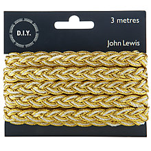 Buy John Lewis Metallic Plait, 3m, Silver/White Online at johnlewis.com