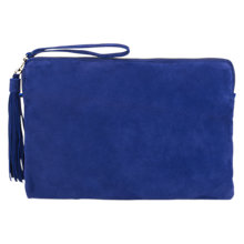 Buy Jigsaw Large Tassel Leather Clutch Bag, Blue Online at johnlewis.com