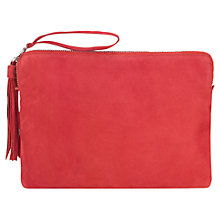 Buy Jigsaw Large Tassel Leather Clutch Bag Online at johnlewis.com