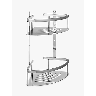 John Lewis Contemporary Brass and Stainless Steel 2 Tier Corner Shower Basket