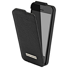 Buy Hugo Boss Reflex Leather Flip Case for iPhone 5 & 5S, Black Online at johnlewis.com