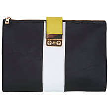 Buy Miss Selfridge Colour Block Zip Top Clutch Bag, Black Online at johnlewis.com