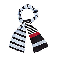 Buy Viyella Stripe Silk Scarf, Powder Blue Online at johnlewis.com