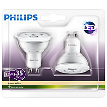 Buy Philips LED 3.5W GU10 Spotlight, Pack of 2, Clear Online at johnlewis.com