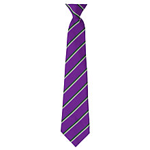 Buy Alderbrook Senior School Striped Clip-On Tie, Purple/Multi Online at johnlewis.com