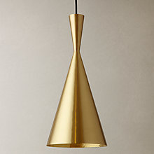 Buy Tom Dixon Brushed Tall Beat Pendant, Brass Online at johnlewis.com