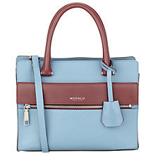 Buy Modalu Erin Mini Leather Tote Bag, Claret Red/Airforce Blue Online at johnlewis.com