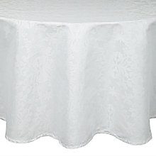 Buy John Lewis Pemberley Damask Round Tablecloth, White, Dia.180cm Online at johnlewis.com