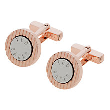Buy Ted Baker Striped Disc Brass & Rose Gold Cufflinks, Rose Gold Online at johnlewis.com