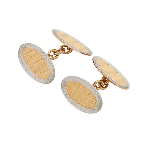 Buy Jenny Knott Art Deco 18 Carat Gold and Platinum Oval Cufflinks Online at johnlewis.com