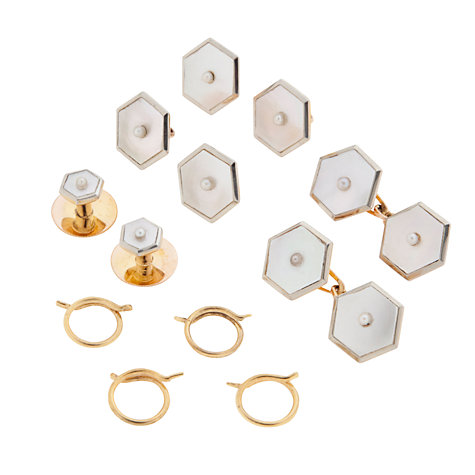 Buy Jenny Knott Gold, Mother of Pearl and Diamond Art Deco Hexagon Cufflinks and Dress Studs Online at johnlewis.com
