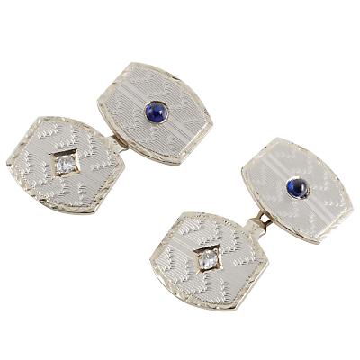Jenny Knott 14 Carat Gold Sapphire and Diamond Cufflinks GoldBlue £900.00 AT vintagedancer.com
