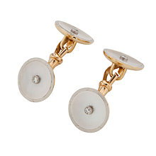 Buy Jenny Knott 18 Carat Gold, Diamond and Mother of Pearl Circular Cufflinks Online at johnlewis.com