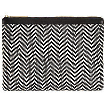 Buy Whistles Rachelle Woven Clutch Bag, Black/White Online at johnlewis.com