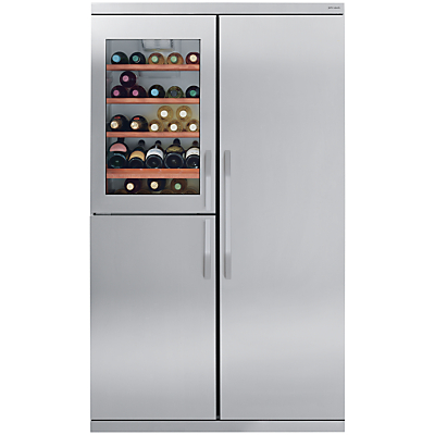 John Lewis Side-by-Side JLDMFF001 Slim Depth Wine Cabinet Fridge Freezer, Stainless Steel