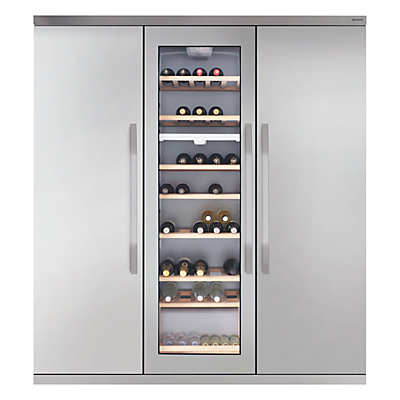 John Lewis JLTMFF006 Slimdepth Wine Cabinet Triple Fridge Freezer, Stainless Steel