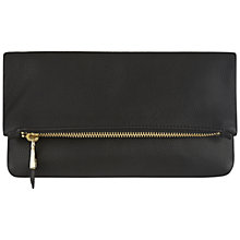 Buy Jaeger Harper Leather Foldover Clutch Bag, Black Online at johnlewis.com