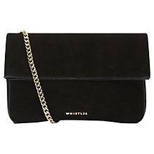 Buy Whistles Rosemead Foldover Leather Chain Clutch Bag, Black Online at johnlewis.com