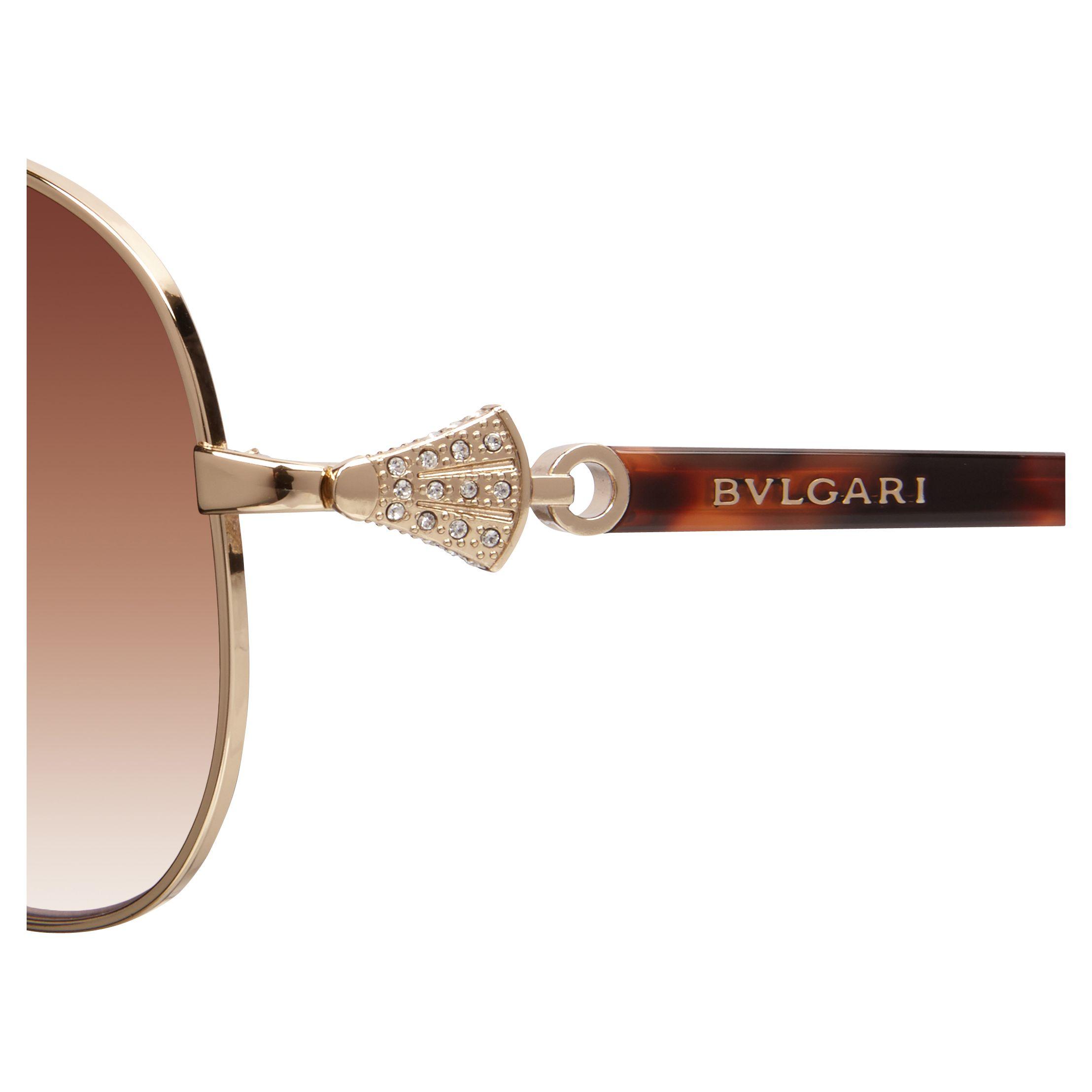 Buy Bvlgari BV6073B Aviator Frame Sunglasses, Gold John ...