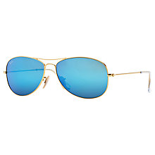 Buy Ray-Ban RB3362 Aviator Sunglasses, Matte Gold/Turquoise Online at johnlewis.com