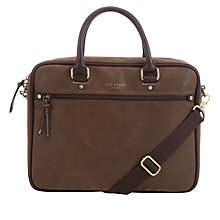 Buy Ted Baker Scotch Grain Kangaru Document Bag, Chocolate Online at johnlewis.com