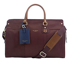 Buy Ted Baker Kimyay Leather Holdall, Oxblood Online at johnlewis.com