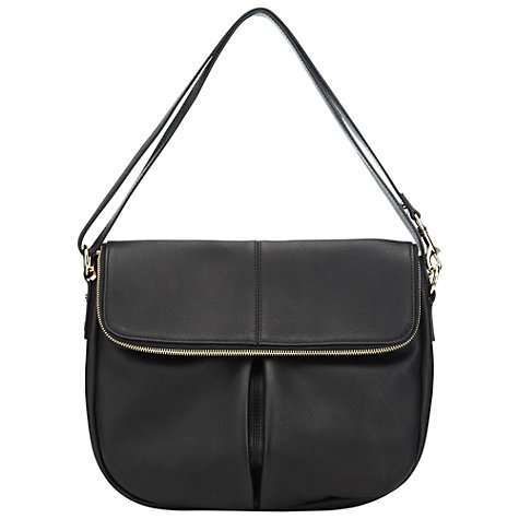Buy Whistles Duffy Zip Leather Satchel Bag, Black Online at johnlewis.com