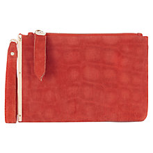 Buy Oasis Celeste Leather Clutch Bag, Bright Orange Online at johnlewis.com