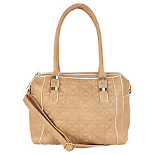 Buy Oasis Carmen Quilted Barrell Bag, Mid Neutral Online at johnlewis.com