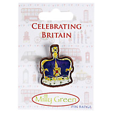 Buy Milly Green Crown Pin Badge Online at johnlewis.com