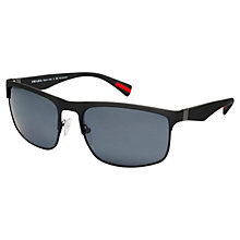 Buy Prada Linea Rossa PS 56PS Polarised Rectangular Frame Sunglasses, Black Rubber Online at johnlewis.com