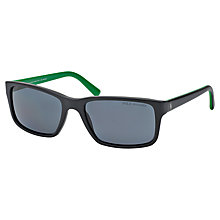 Buy Polo Ralph Lauren PH4076 Rectangular Polarised Sunglasses, Matte Black Online at johnlewis.com